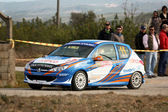 CASTELO BRANCO, PORTUGAL - MARCH 10: Pedro Fins drives a Peugeot 206 GTI during Rally Castelo Branco 2012, integrated on Open Championship in Castelo Branco, Portugal on March 10, 2012. — Stock Photo