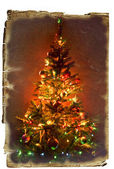 Christmas tree on an old paper — Stock Photo