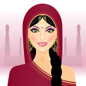 Vector illustration of Indian woman — Stock Vector
