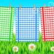 Vector illustration of towels on the clothesline — Stock Vector