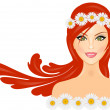 Vector illustration of woman with red hair and daisy crown on he — Stock Vector