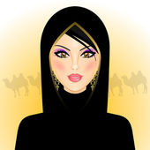 Vector illustration of arab woman in the desert — Stock Vector