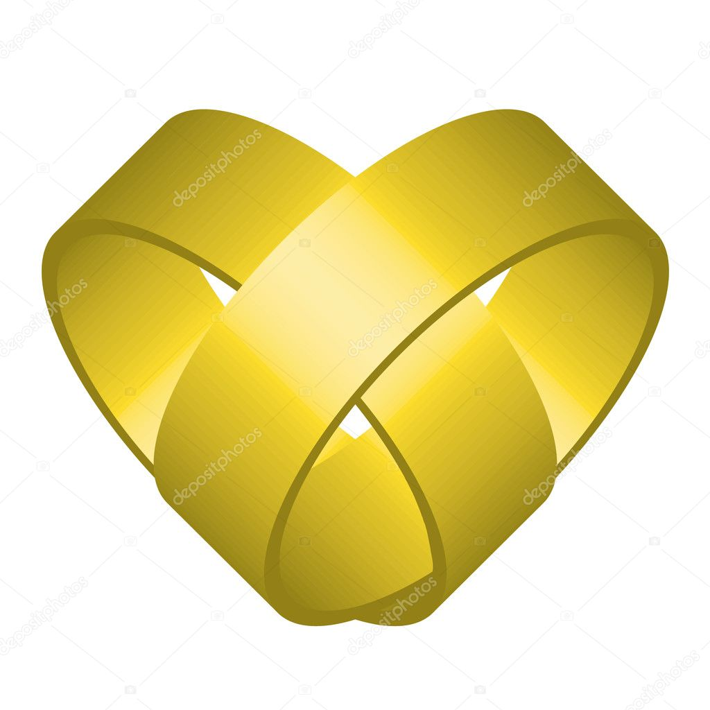 Vector illustration of heart (two entwined rings)  — Stock Vector #8000332
