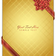 Vector gold background with red bow — Stock Vector