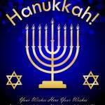 Vector Happy Hanukkah wish card — Stock Vector