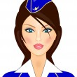 Vector illustration of stewardess — Stock Vector