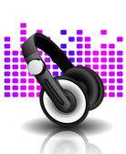 Vector illustration of headphones — Stock Vector
