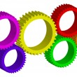 Vector illustration of colorful  cog-wheels — Imagens vectoriais em stock