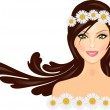 Vector illustration of woman with daisy crown on head — Stock Vector
