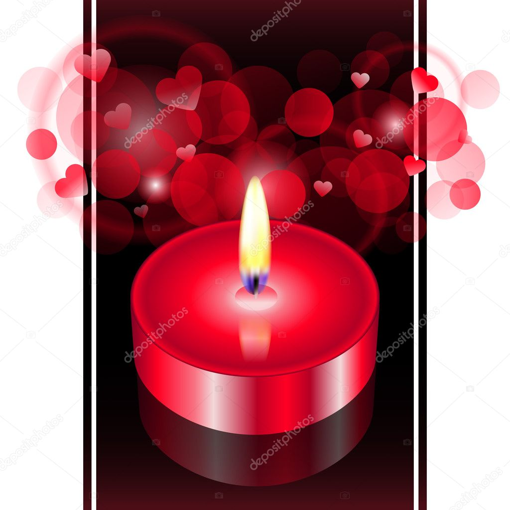 A romantic atmosphere - Vector illustration of red candle — Stock Vector #9960822