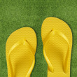 Stock Photo: Yellow Flip Flops on green grass