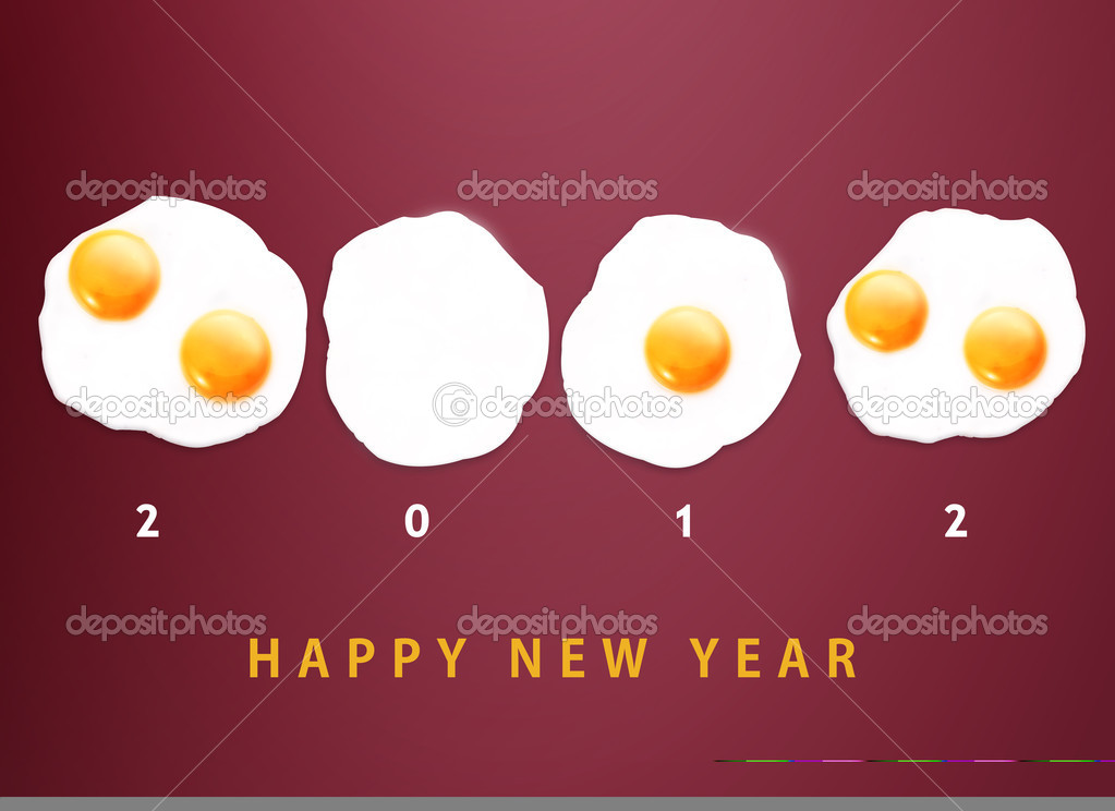Happy new year 2012, conceptual images Fried eggs creating 2012 year number.  Stock Photo #8076870