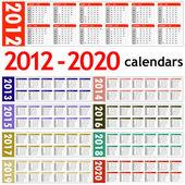 New year 2012 - 2020 Calendars — Stock Photo