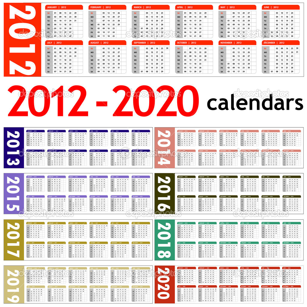 New year 2012 2020 Calendars stock photo Download new year Royalty.