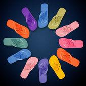 Colorful Flip Flops on circle shape — Stock Photo