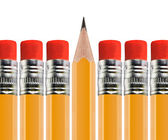 Sharpened pencil out of Row — Stock Photo
