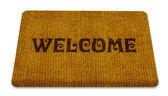 ¡ bienvenido limpieza alfombra de pie — Foto de Stock