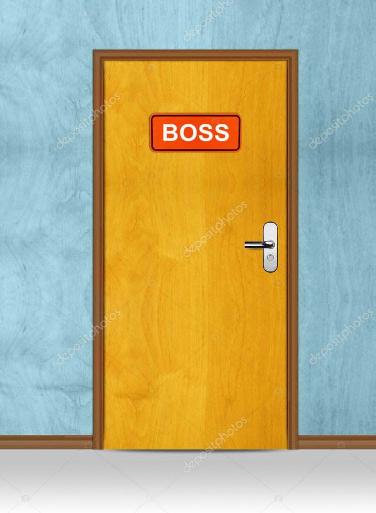 Wooden door with orange boss sign, conceptual image. — Stock Photo #9958104