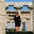 图库照片: Beautiful girl in temples of Paestum