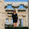 Beautiful girl in the temples of Paestum — Stock Photo