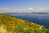 Kerkyra, Corfù, beach landscape with Albania coast — Stock Photo