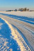 Camino cubierto de nieve en winterlandscape — Foto de Stock