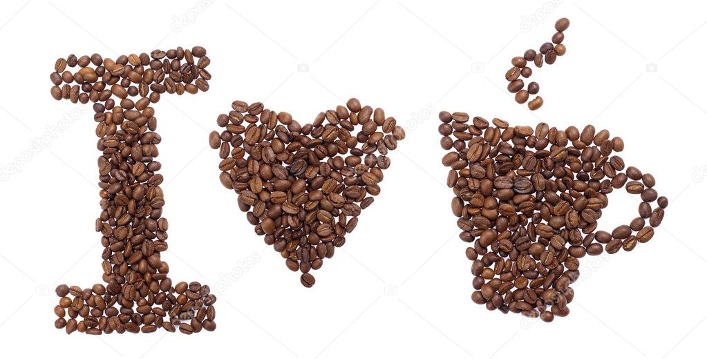 Text i love coffe of coffee beans isolated on white background  Stock Photo #9058725