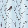 Vector seamless pattern with bird on sakura — Stock Photo