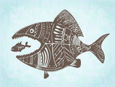Vector hand drawn patterned fishes — Stock Photo