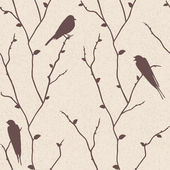 Vector seamless pattern with birds on branches — Stock Photo