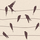 Vector seamless pattern with birds on wires — Stock Photo