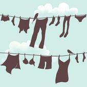 Illustrazione vettoriale di vestiti appesi ad asciugare — Foto Stock