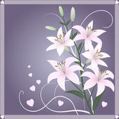 Beautiful spring wallpaper with lily flowers — Stock Vector