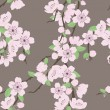 Vector seamless pattern with sakura branch - Stock Vector