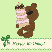Cute bear bringing birthday cake — Stock Photo