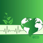 Eco verde tierra en forma de corazón — Foto de Stock