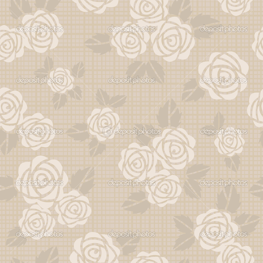 Beautiful seamless vector background with beige roses  Stock Photo #9691407