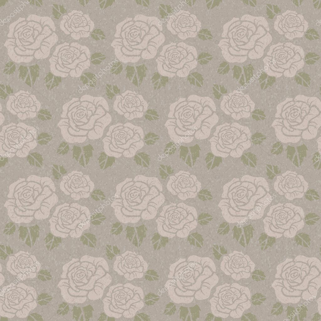 Beautiful seamless vector grungy background with beige roses — Stock Photo #9961268