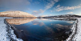 Winter panorama of mountain lake — Stock Photo