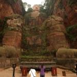 The Giant Buddha of Leshan with praying- China — Stock Photo