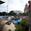 Stock Photo: Occupy demonstration on PlazCatalunyin Barcelona, Spain.