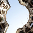 Round square with houses in Barcelona, Spain — Stok fotoğraf