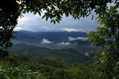 View of the green mountains and hills in Laos — Stock Photo