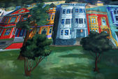 San Francisco - Mural painting with houses of San Francisco Van Ness — Stock Photo