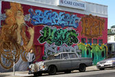 Mural with old car in Berkeley - California — Stock Photo