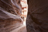 The Treasury in Petra - the famous temple of Indiana Jones in Jordan seen from the Siq — Stock Photo