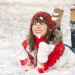 Happy laughing girl in winter — Stock Photo
