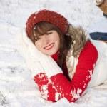 Portrait of happy smiling girl in winter — Stock Photo #8421883