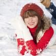 Portrait of happy smiling girl in winter — Stock Photo