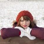 Portrait of cute girl in winter — Stock Photo